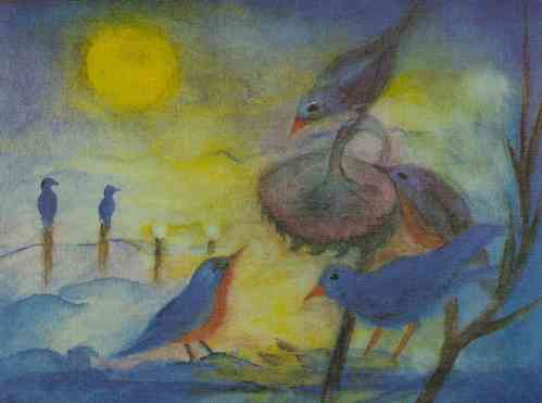 "Poster "" Vögel im Winter"" 21x15"
